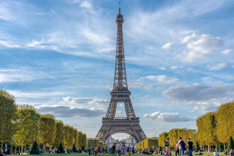 Eiffel Tower paris france cloudy sky stock images