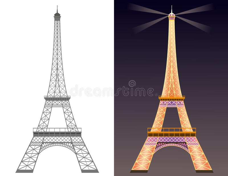 Download Eiffel tower stock vector. Image of illumination, silhouette - 19193246