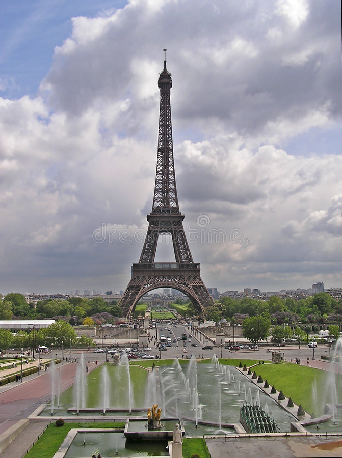 Eiffel Tower 2. Eiffel Tower and fountains on Champ de Mars stock photos