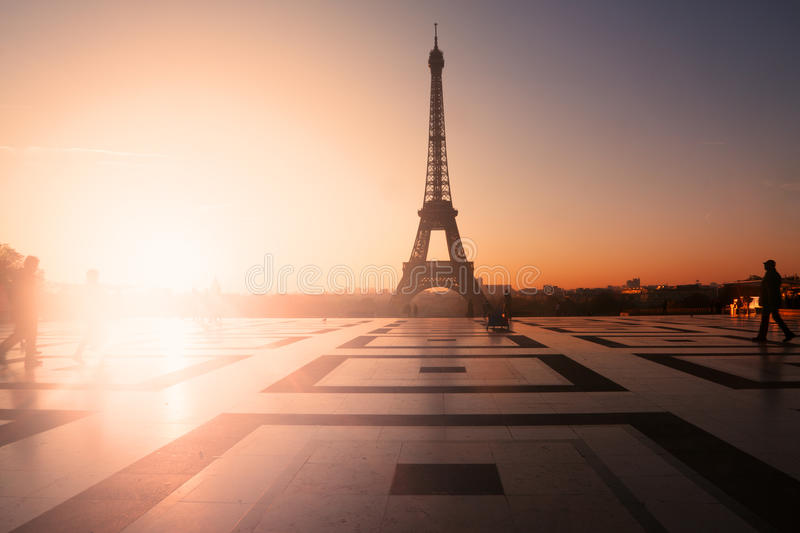Eiffel Tower. Paris, France: Eiffel Tower at sunset (or sunrise) from Trocadero. Copy space on left