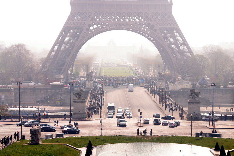 Eiffel tower. The streets running beneath the Eiffel tower in Paris, France royalty free stock photos