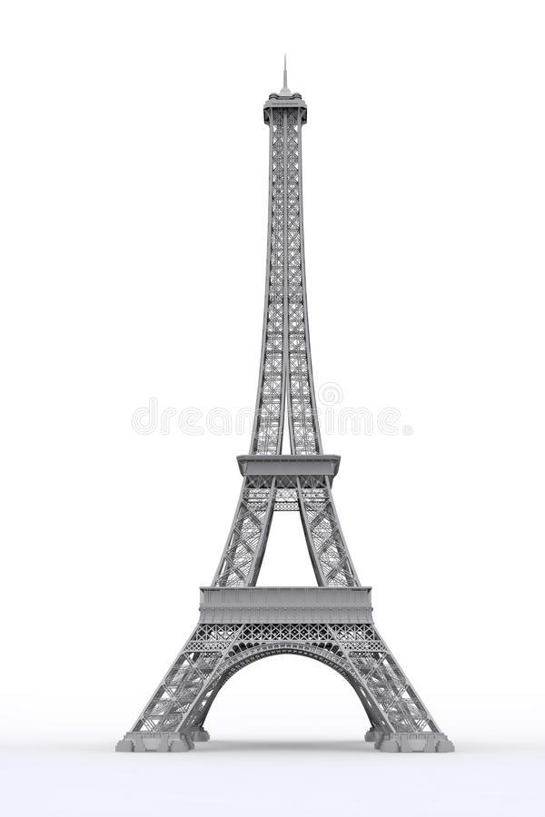 Eiffel tower in 3D. With a reflective base