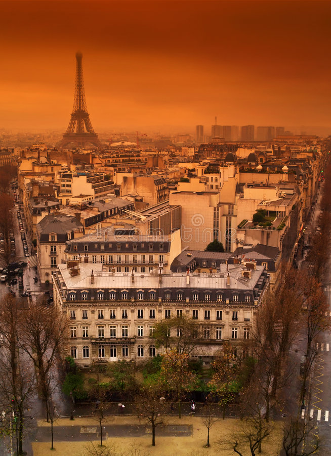 Paris rooftops with Eiffel tower. royalty free stock photo