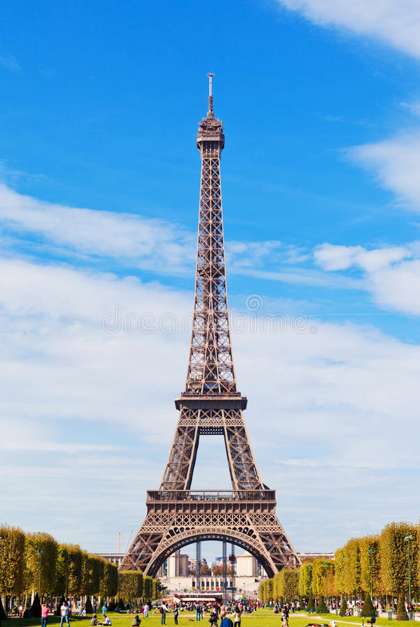 Download Eiffel Tower Against The Blue Sky And Clouds Editorial Photography - Image: 43710777