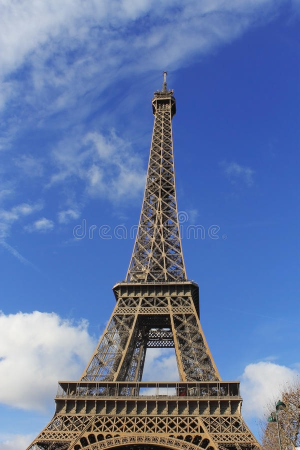 Eiffel Tower against blue sky stock photo