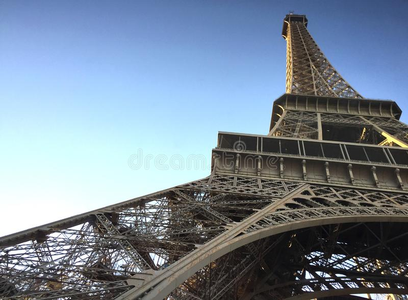 The Eiffel Tower as seen from below. royalty free stock images