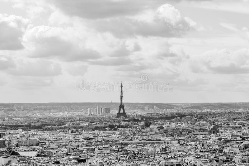 Eiffel tower in balck and white colours, Paris, France. Eiffel tower in balck and white colours, Landscape of Paris, France stock images