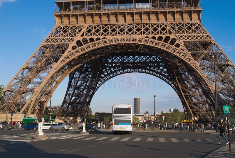 Eiffel tower basis, Paris stock photo