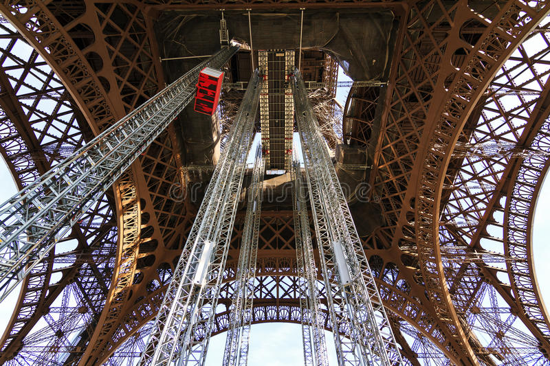 Eiffel tower below view stock photography