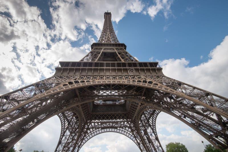 Eiffel Tower from beneath stock photo