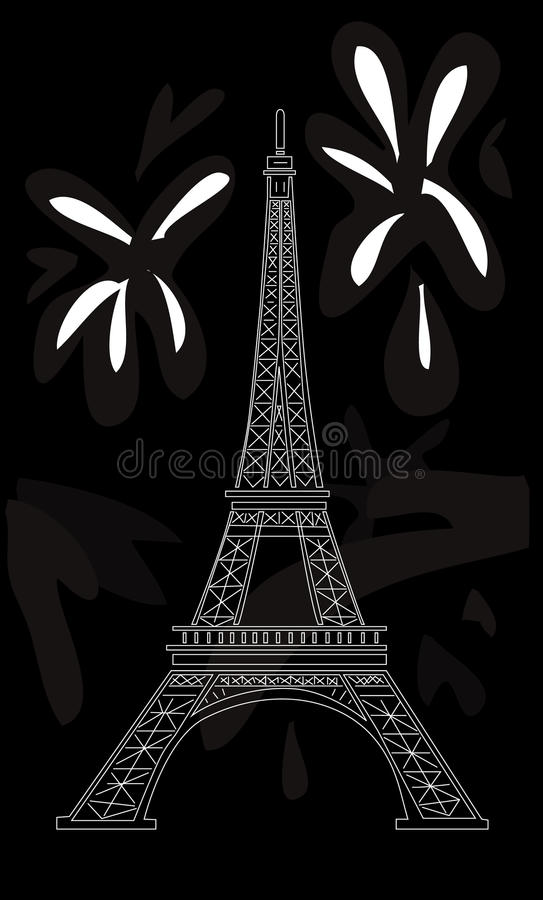 Download Eiffel tower on black stock vector. Illustration of grey - 25873971