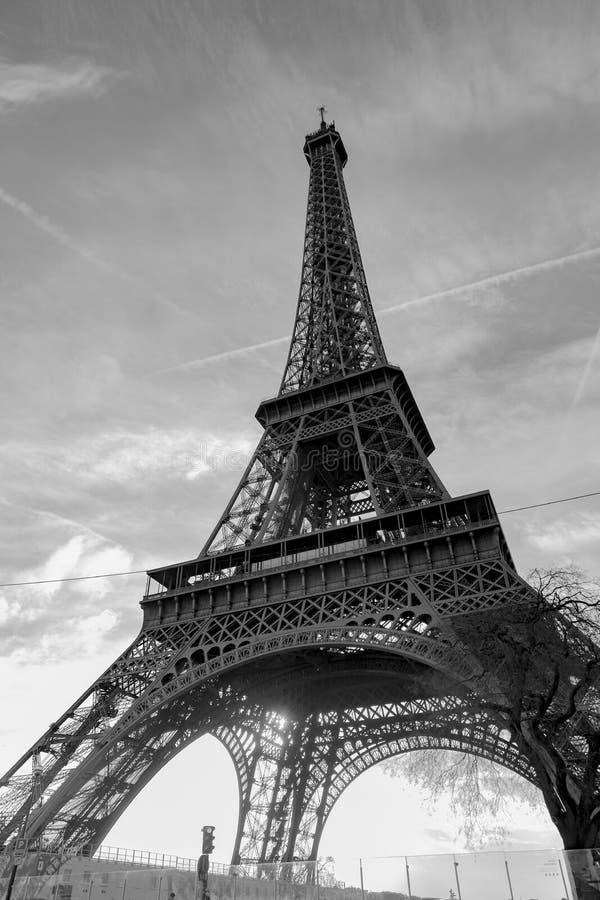 Eiffel Tower in Black White royalty free stock photo