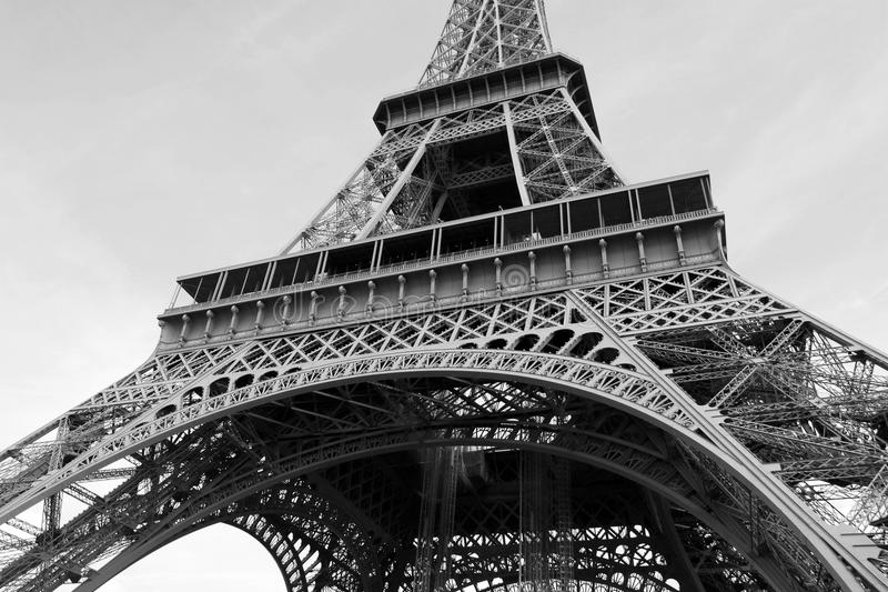 The Eiffel Tower in Black and White. Close up Of The Eiffel Tower in Black and White stock images