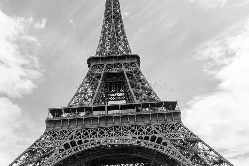 Eiffel tower in black and white. Close up of Eiffel tower in black and white stock image