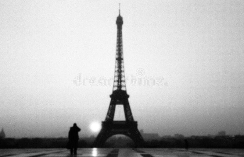 Eiffel tower black and white royalty free stock photography
