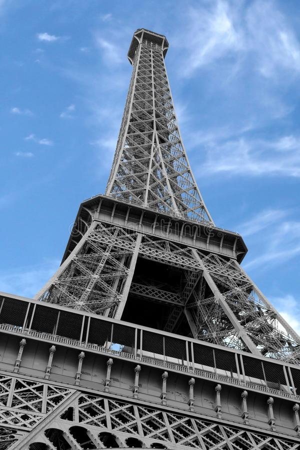 Eiffel Tower with black and white effect but the sky is blue. Eiffel Tower with black and white effect and blue sky in Paris France stock photography