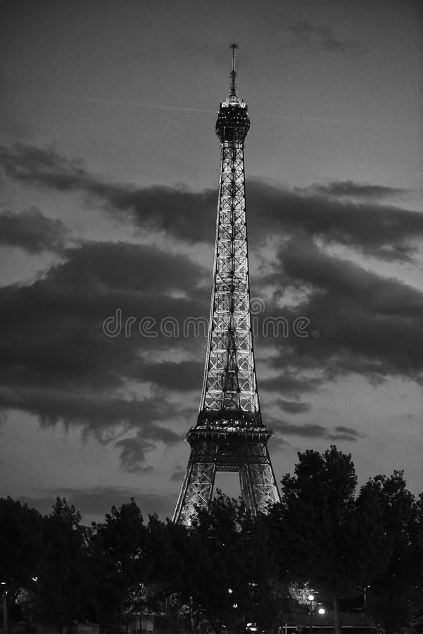 Eiffel tower black and white. Night view of isolated eiffel tower in black and white stock photos