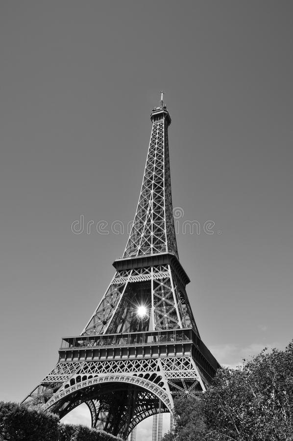 Eiffel Tower in Black and White. With sunlight reflected in suspended Mirrorball royalty free stock image