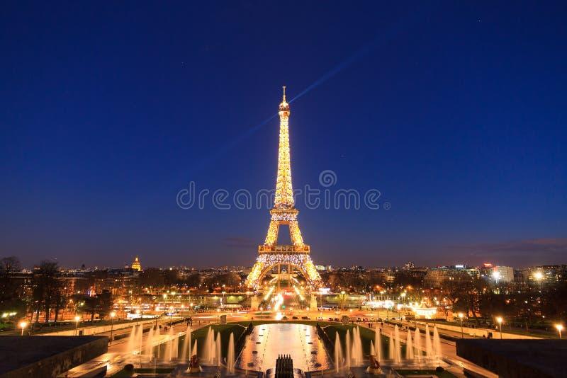 Eiffel tower blue lights stock photos