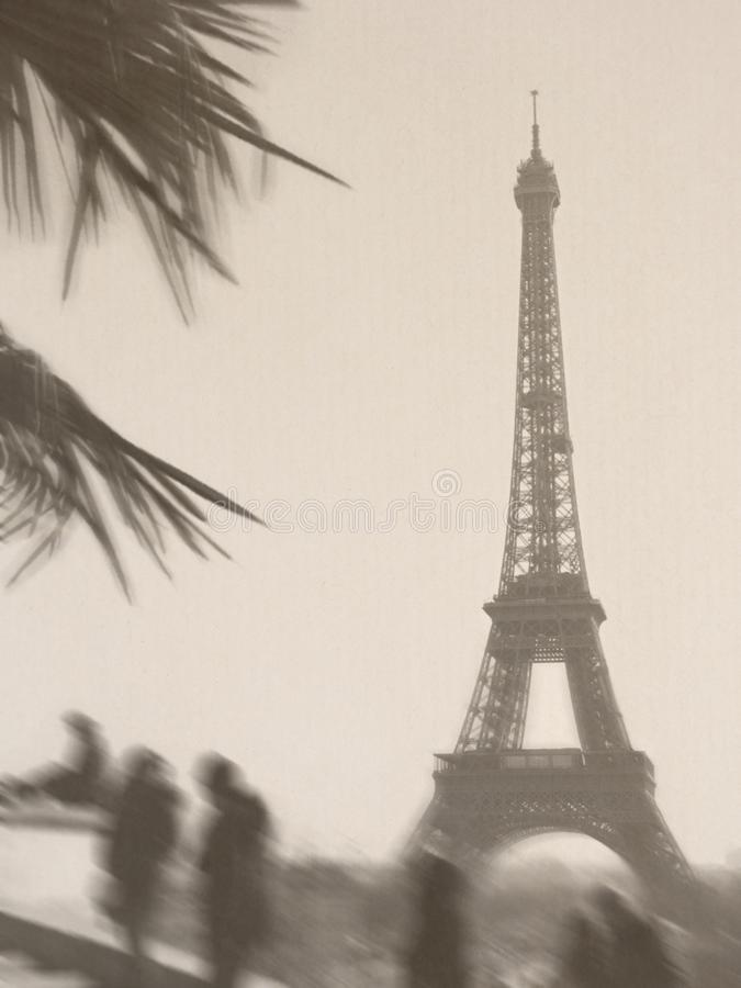 Eiffel Tower retro sepia look Paper texture People blur stock image