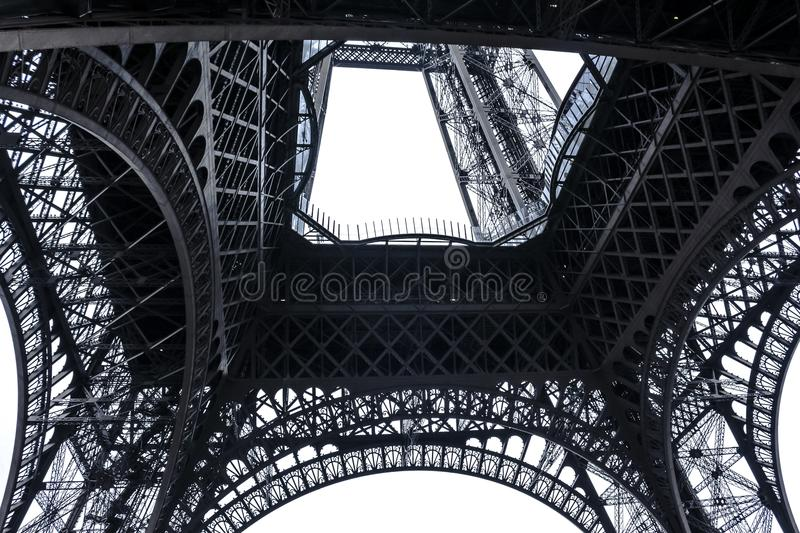 The Eiffel Tower from the bottom in Paris, France royalty free stock photos