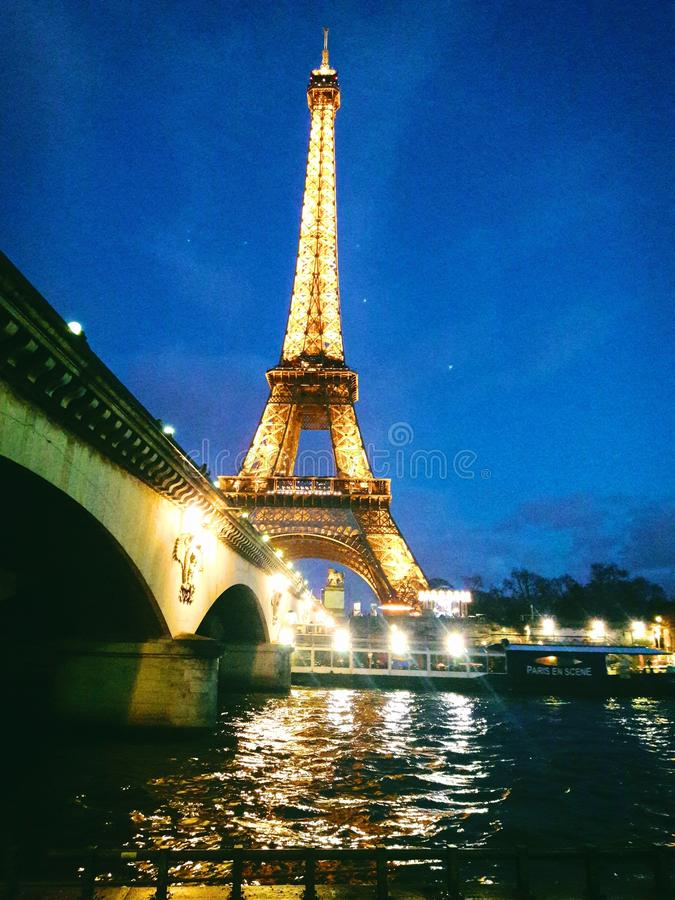 Eiffel Tower and bridge royalty free stock photography