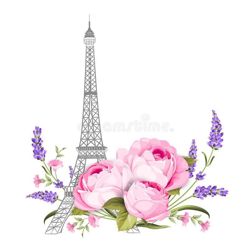 The Eiffel tower card. Eiffel tower simbol with spring blooming flowers over white background. royalty free illustration