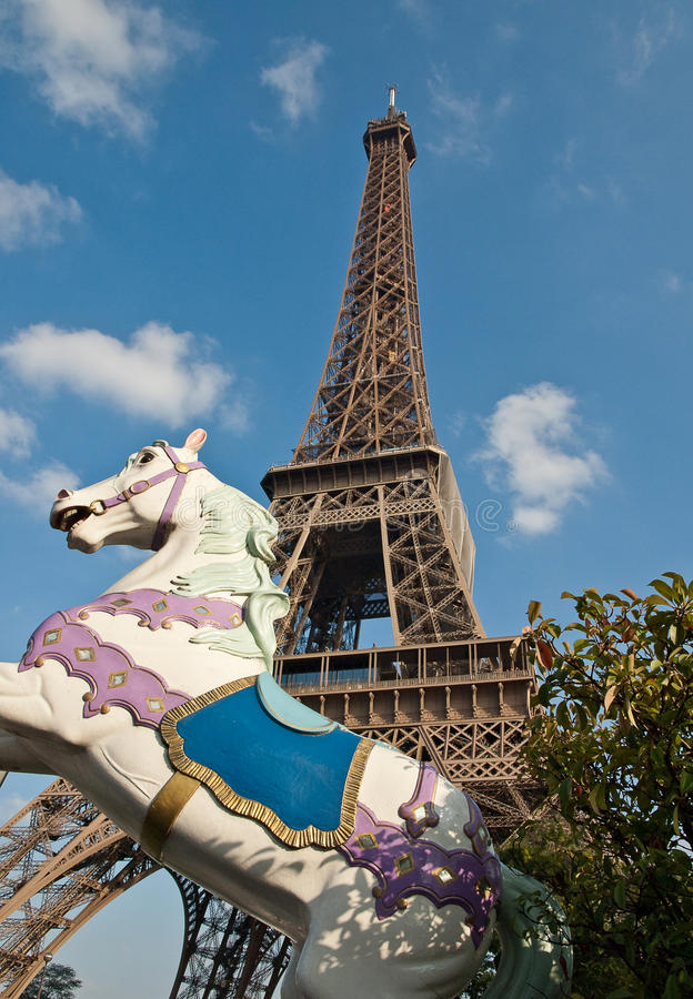 Download The Eiffel Tower And Carrousel Horse. Royalty Free Stock Image - Image: 12506636