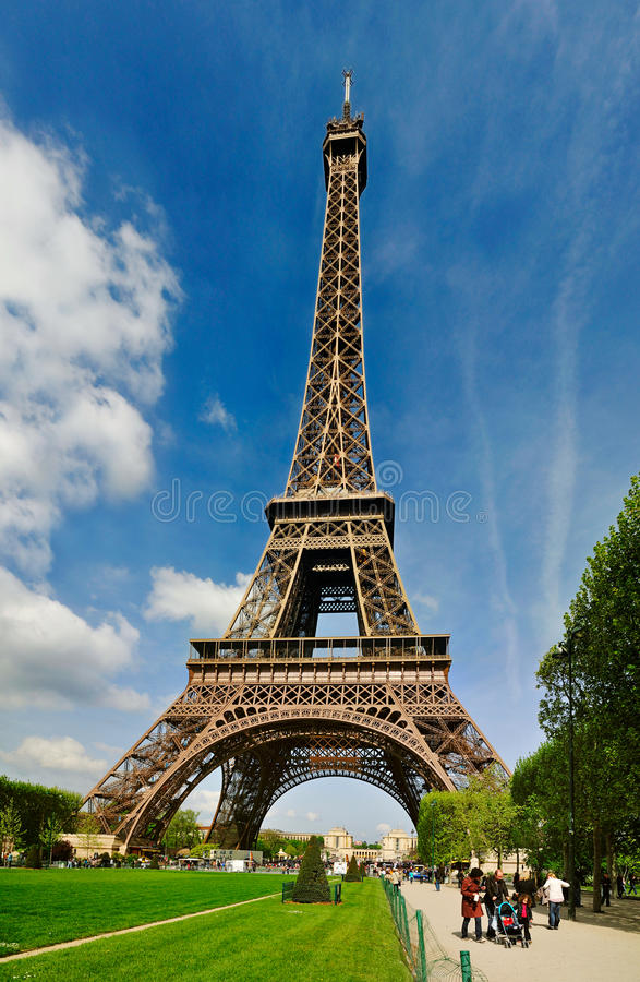The Eiffel tower from Champs de Mars royalty free stock photo