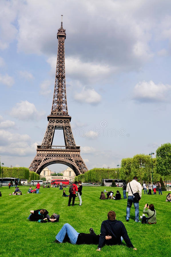 Eiffel Tower and Champs de Mars royalty free stock photos