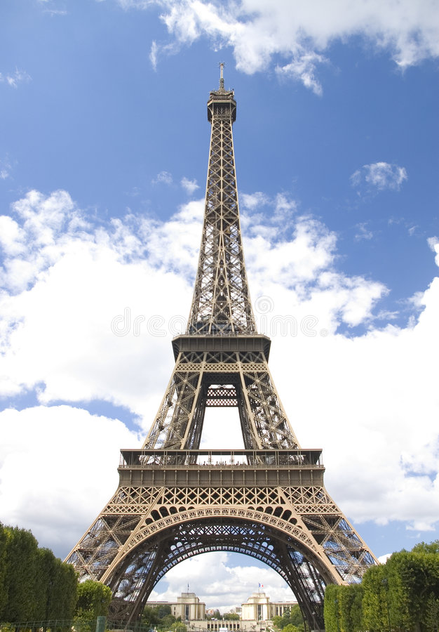 Eiffel tower on cloud sky. Eiffel tower on background cloud blue sky stock image