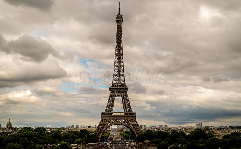 Eiffel Tower on a Cloudy Day royalty free stock photo