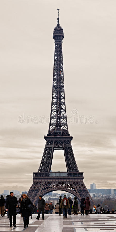 Eiffel Tower in a Cloudy Winter Day stock photos