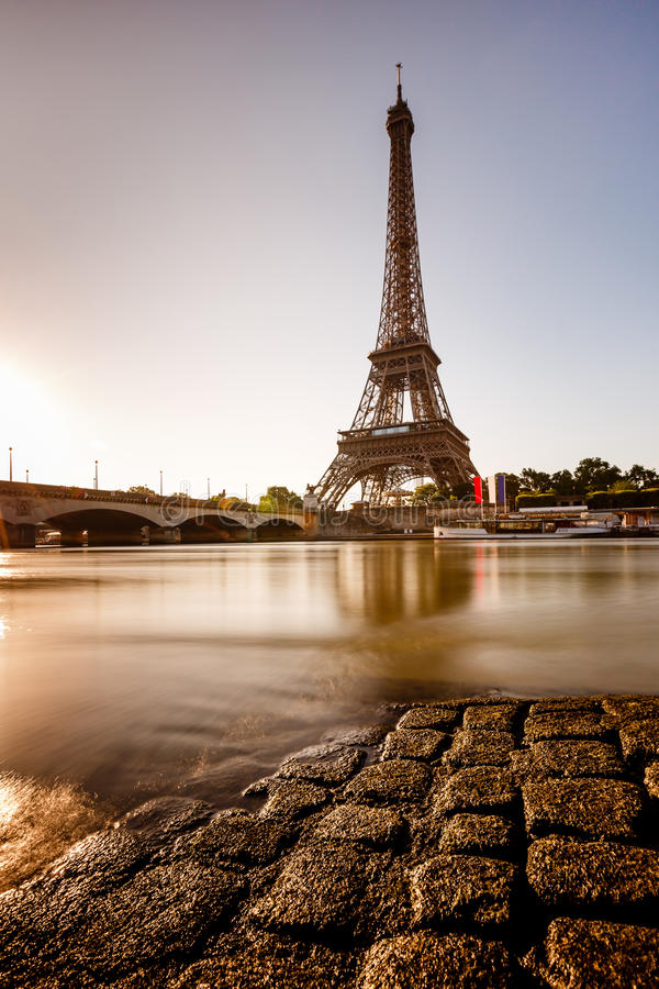 Download Eiffel Tower And Cobbled Embankment Of Seine River At Sunrise Stock Image - Image of morning, city: 32248273
