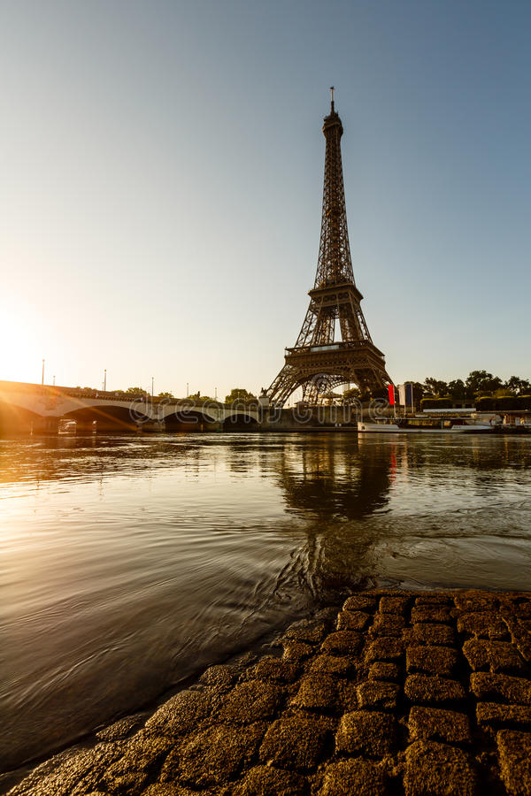 Download Eiffel Tower And Cobbled Embankment Of Seine River At Sunrise Stock Image - Image: 32576753