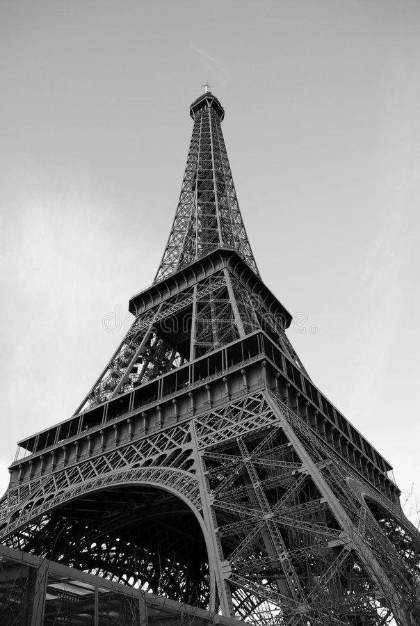 Eiffel tower in December evening light stock images