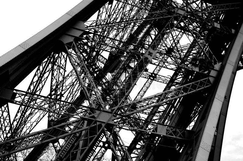 Eiffel Tower detail in Paris black and white photo royalty free stock images