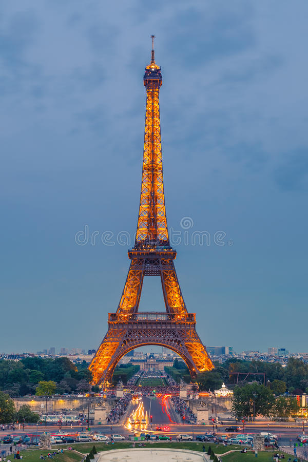 Download Eiffel Tower at dusk editorial photography. Image of city - 34599037