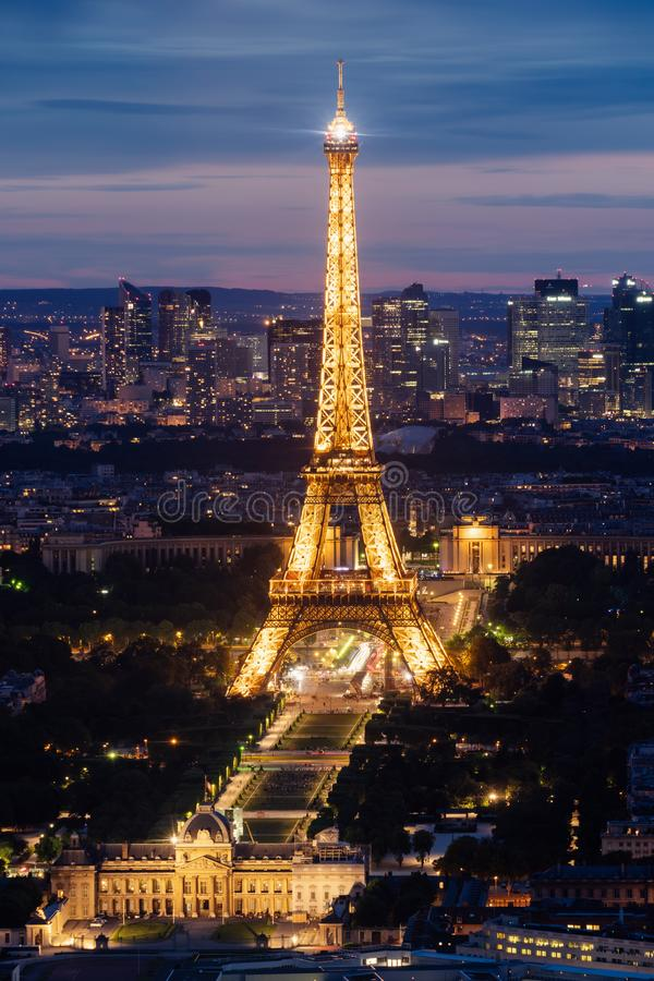 Eiffel tower, famous landmark and travel destination in Paris, France at night in summer. Eiffel tower, famous landmark and travel destinations in Paris, France stock photography