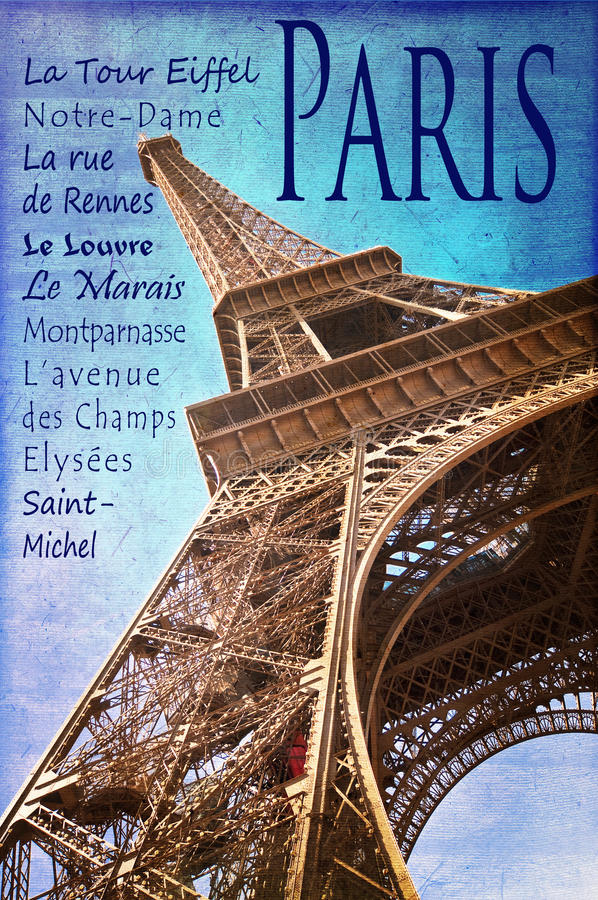 The Eiffel tower and famous places of Paris, vintage style royalty free stock photography