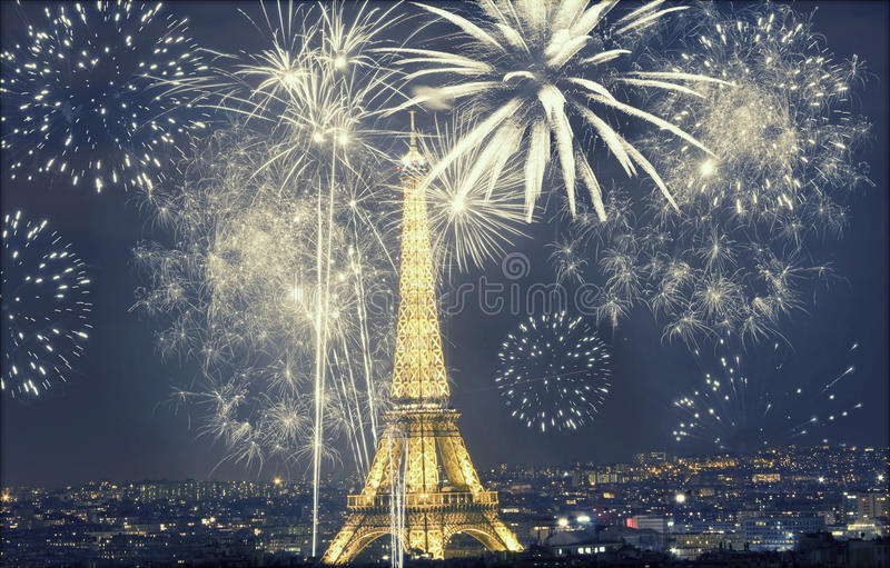Eiffel tower with fireworks, New Year in Paris royalty free stock photography