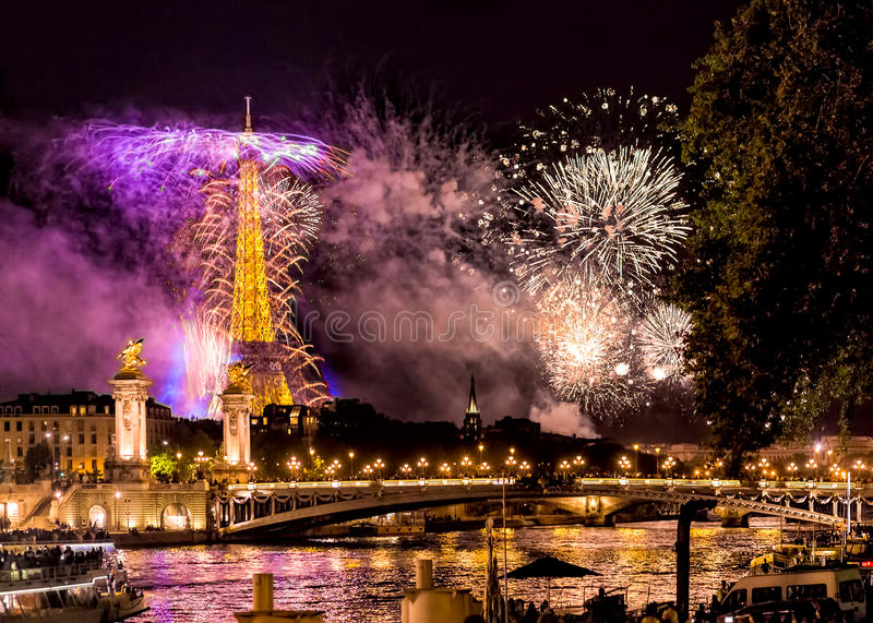 Eiffel tower fireworks stock photography