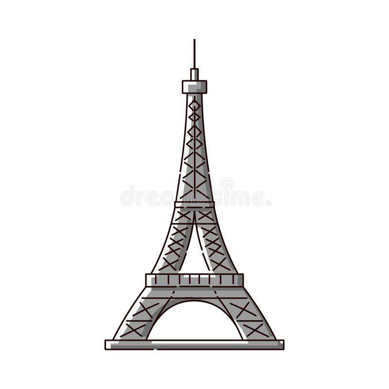 Eiffel Tower flat icon - famous Paris, France tourist attraction. stock illustration