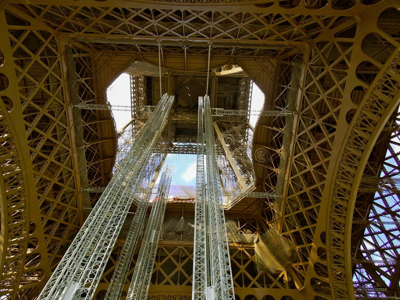 Eiffel Tower Fragment Construction Repairs royalty free stock photography