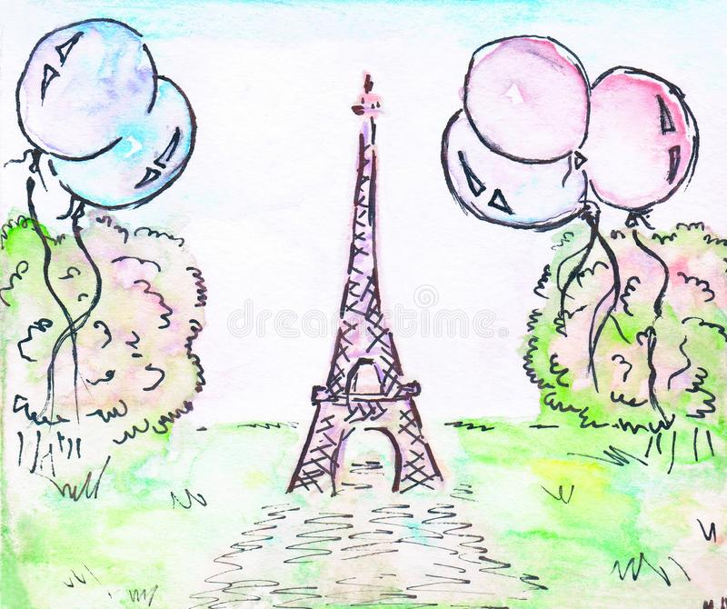 Eiffel tower. Green lawn, balloons and green trees -illustration. Eiffel tower. Green lawn and balloons-illustration. Watercolor vector illustration