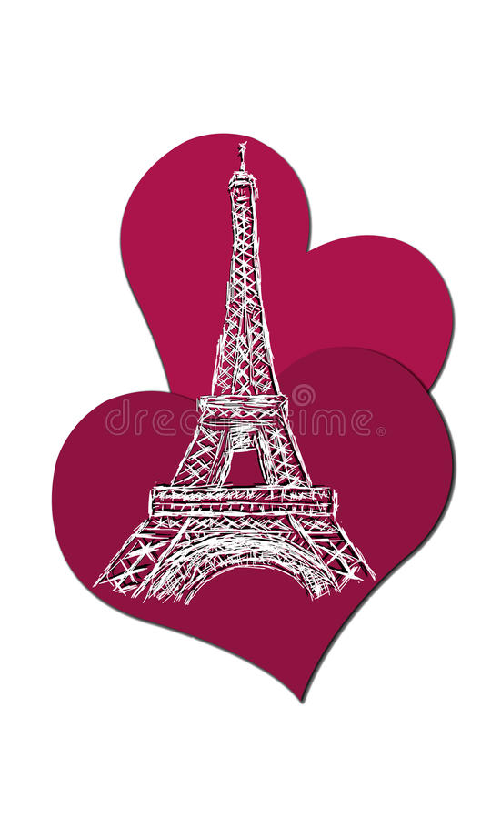 The Eiffel tower with hearts royalty free stock images