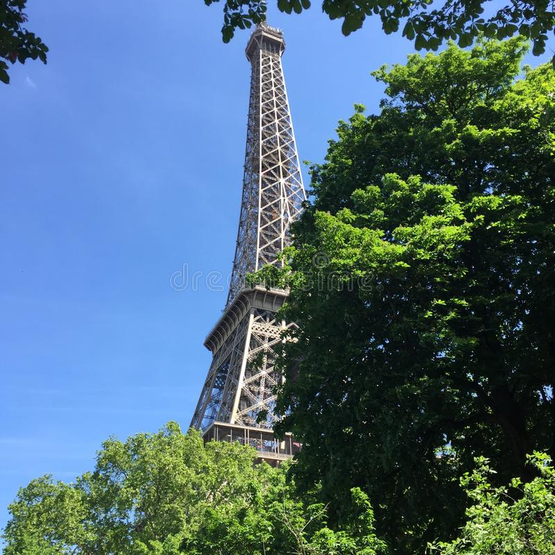 Eiffel Tower hidden by trees. This is the true Eiffel Tower of Paris. The most famous monument, know in the world royalty free stock image