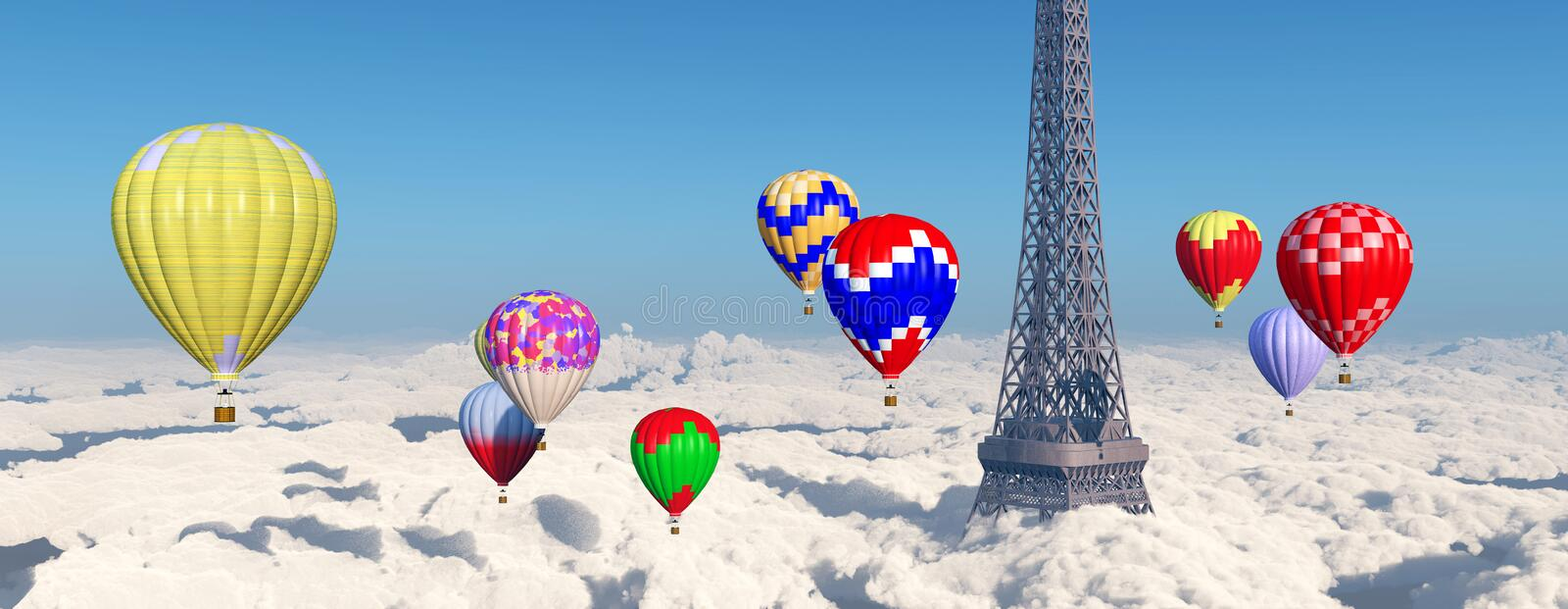 Eiffel Tower and hot air balloons. Computer generated 3D illustration with Eiffel Tower and hot air balloons above the clouds stock illustration
