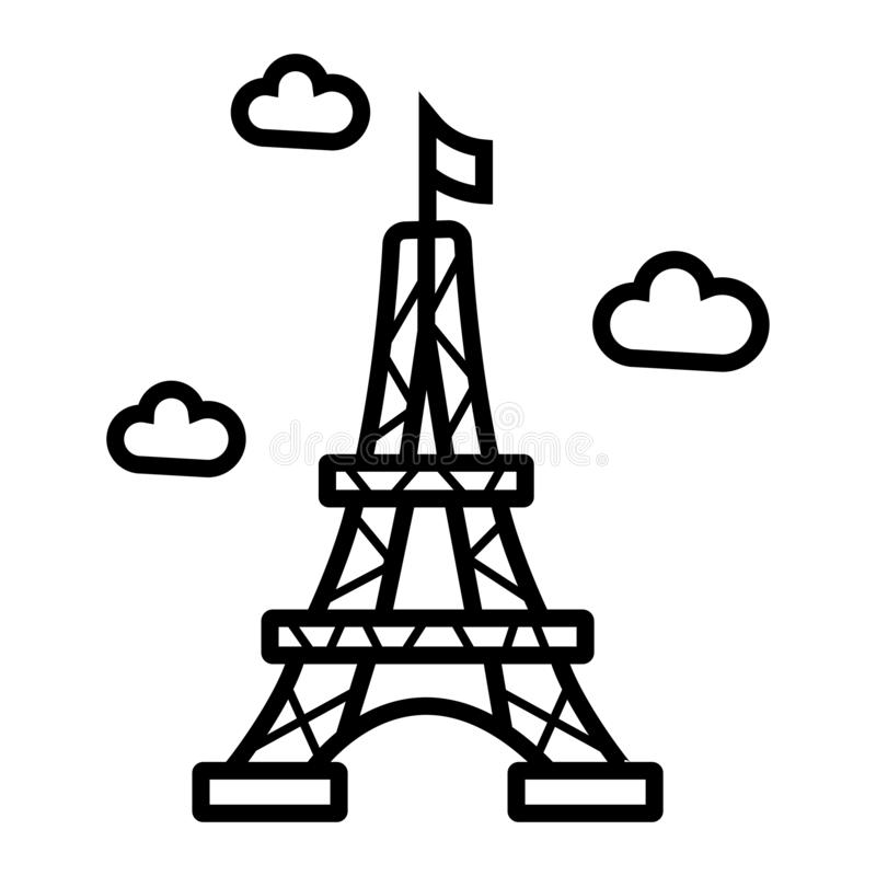 Eiffel tower icon. France , Paris landmark vector illustration