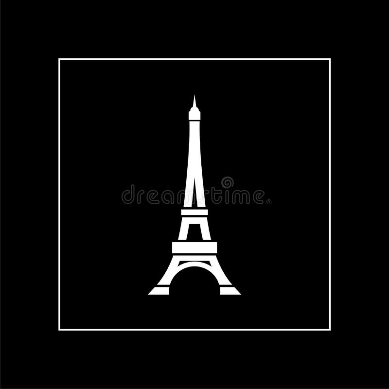 Eiffel tower icon isolated on black background. France Paris landmark symbol stock illustration